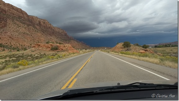 Black skies over Moab. Late September 2017. Luckily I only caught the edge of the storm.