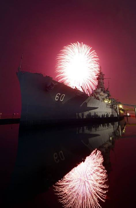 4th of July Fireworks over USS Battleship
