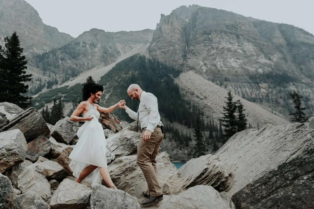 moraine lake, moraine lake elopement, elope in banff, adventure photographer, adventure wedding
