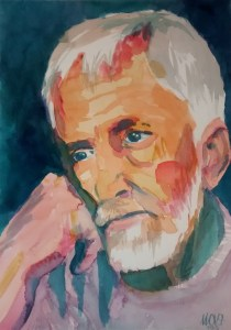 White thinker - watercolor portrait