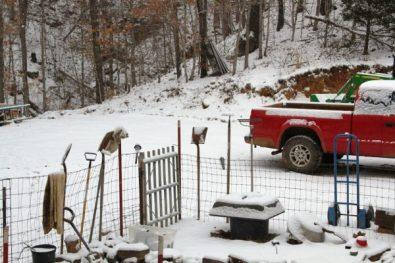 garden in snow at wild ozark