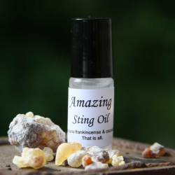 Frankincense oil. The 4 ml bottle of Wild Ozark's Amazing Sting Oil.