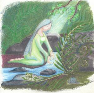 """Water Priestess"" by Madison Woods, nature fantasy artist."