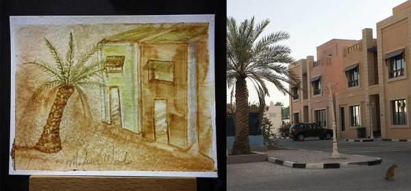You can do nature art anywhere, but there's no guarantee it's going to be 'good' art. This is my rendering of the way it looks outside the apartment here in Doha. I like the palm tree but the rest leaves a lot to be desired.