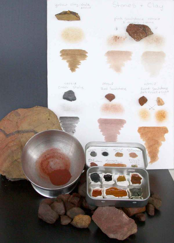The journal of stones, some of the ground earth pigment from one of the red sandstones, and the finished palette.