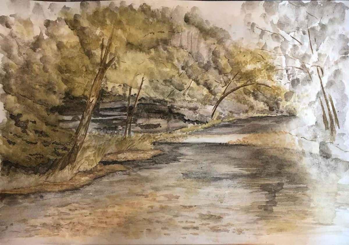 Buffalo river painting in progress.