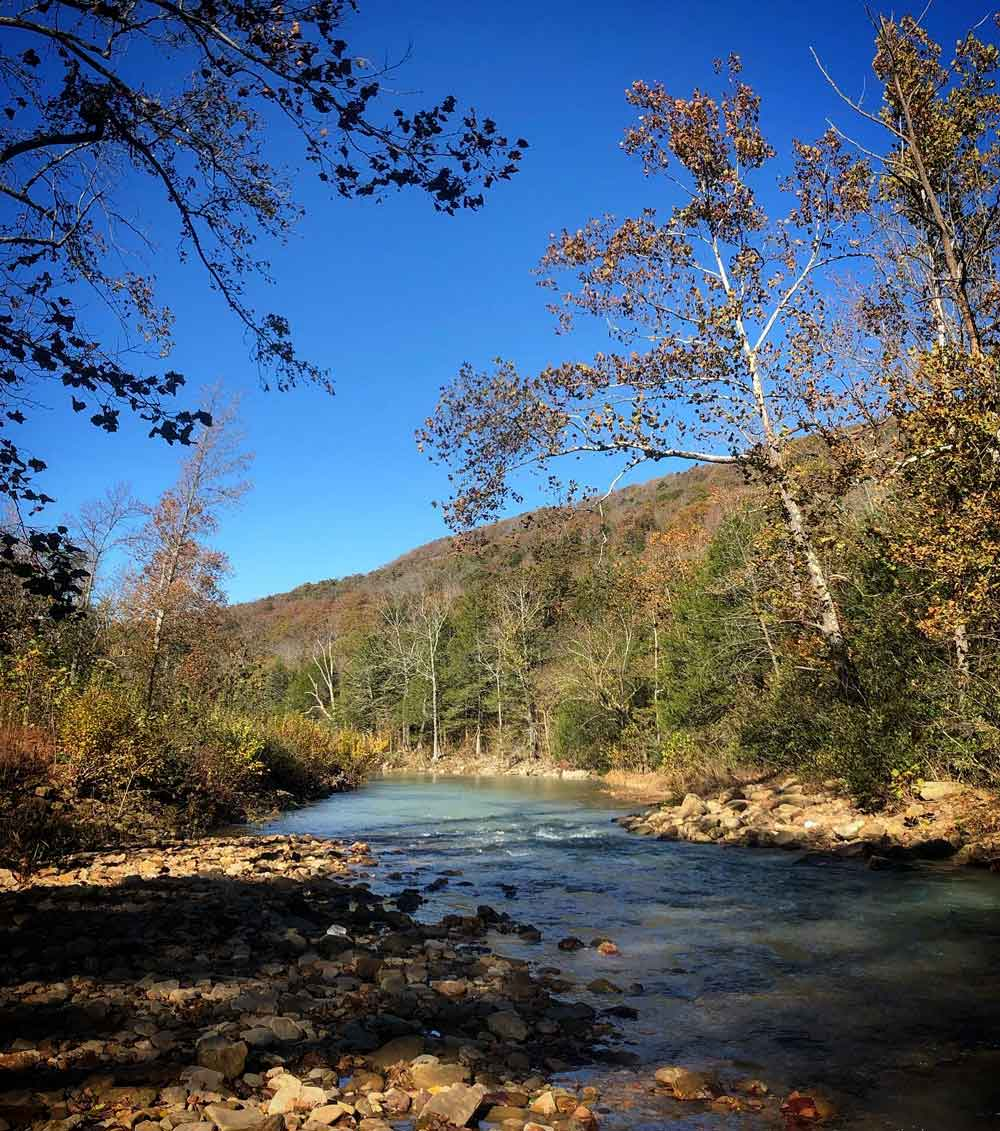 beautiful Autumn day in the Ozarks. This is Felkins creek in Madison County, Arkansas.