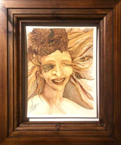 Framed Eye of the Storm, original watercolor in Ozark pigments by Madison Woods