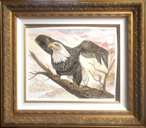 Trying out the frame for my bald eagle painting. This is for sale, btw, if you're interested.