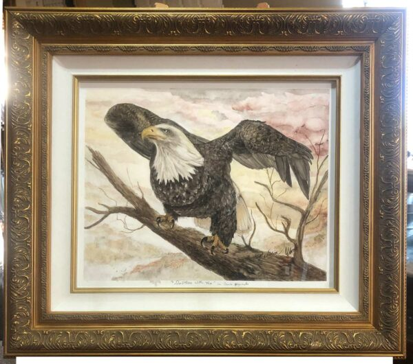 A bald eagle painting, dominant female defending her space. Features handmade watercolors by Madison Woods. All colors are hand-foraged Ozark pigments.