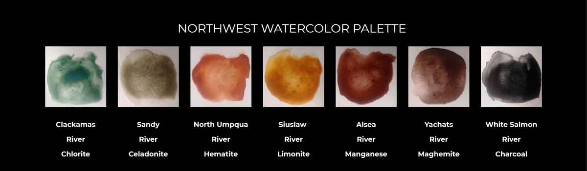 The Northwest Watercolor Palette is a collection of pigments that @pigmenthunter harvested over the past 15 years while exploring different watersheds and geological environments.