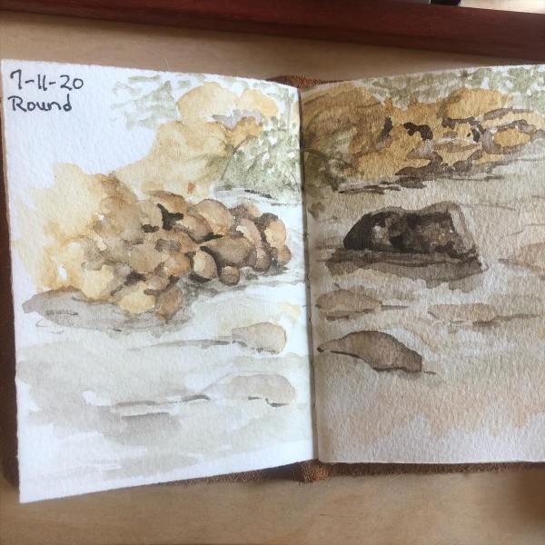 Day 11 of World Watercolor Month and I'm painting Felkins creek with my Ozark earth colors.