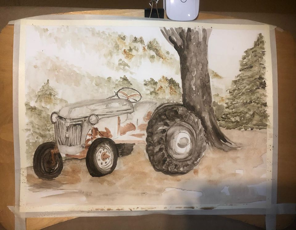 Working on a painting of the old Ford 8N, in Ozark pigments.