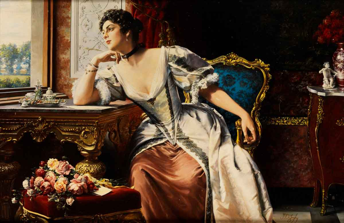 Another example of art that I love is Thoughts When Writing the Letter, by Flemish painter Gustave Leonard de Jonghe