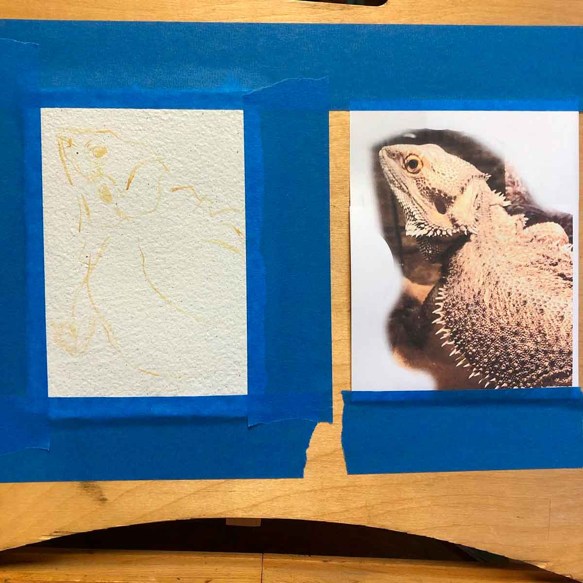 Here's the process of my bearded dragon painting.