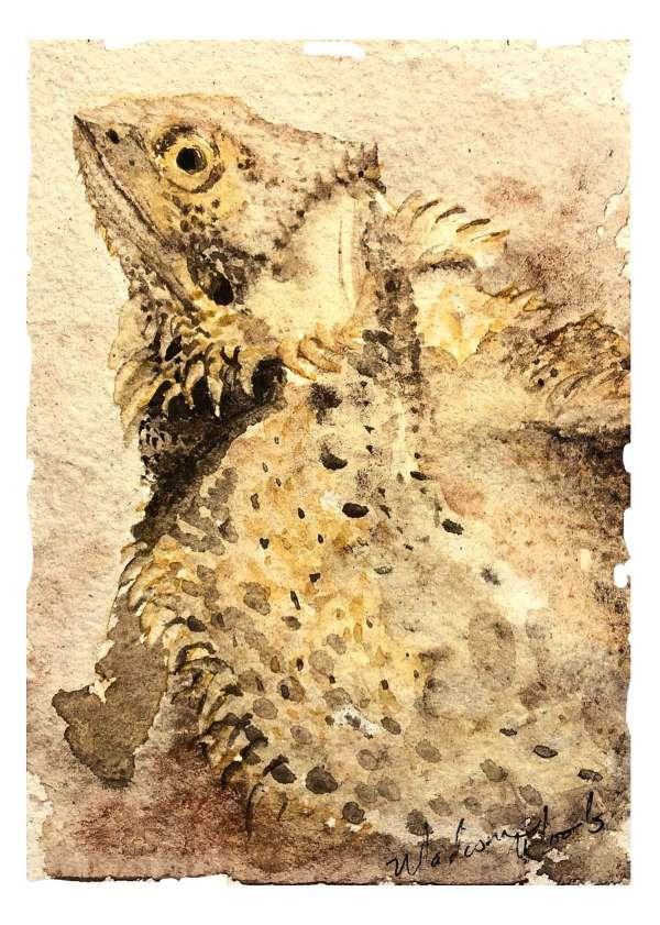Petunia, the Bearded Dragon in Ozark pigments.