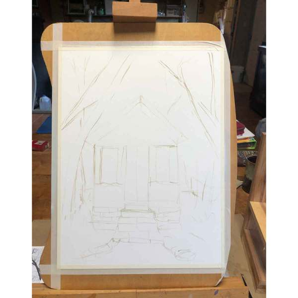 Eventually, I work up the nerves to put the first marks on the paper. I use one of my non-staining paints to freehand an outline.