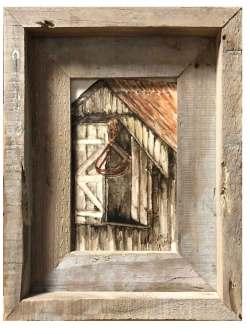 Hay Loft Doors, framed original art by Madison Woods..