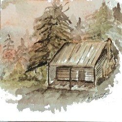 Little Cabin in the Woods, a painting by Madison Woods.