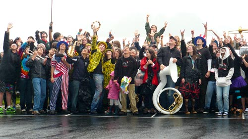 Students from the Sitka Fine Arts Camp pose for a picture