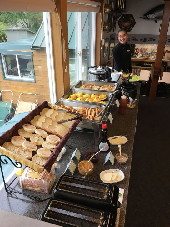 Breakfast Buffet Line At Wild Strawberry Lodge, Alaska Premier Charters Inc.
