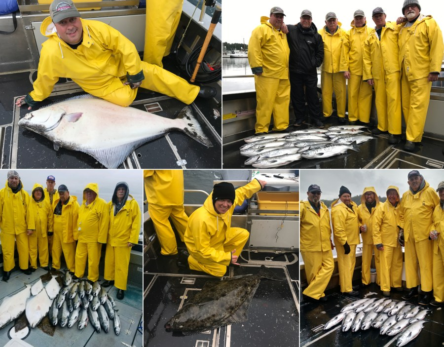 Silver salmon action & some releaser halibuts!