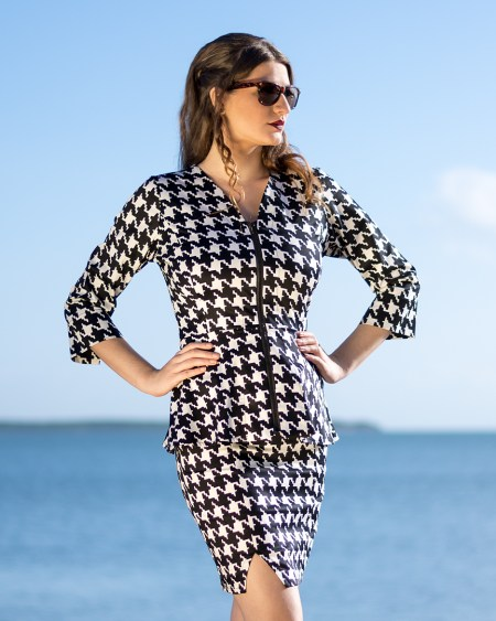 Peplum Jacket and Panel Skirt in Houndstooth
