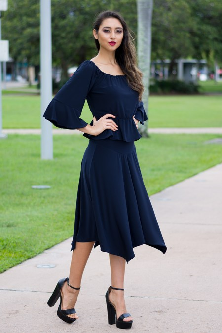 Free Spirit Gypsy Top with Gathered Waist and Europa Skirt in Navy