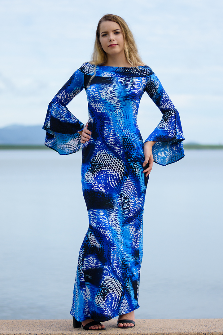 La Vita e Bella Long Dress in Blue Coral Sea