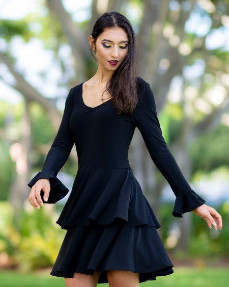 Sasa Dress with Long Sleeves in Black