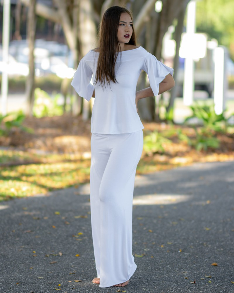Ellipse Butterfly Top and Palazzo Pants in White