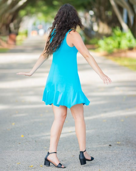 Little Gypsy Dress in Bamboo in Sea Breeze Blue