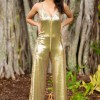 Florence Jumpsuit in Gold Sequins