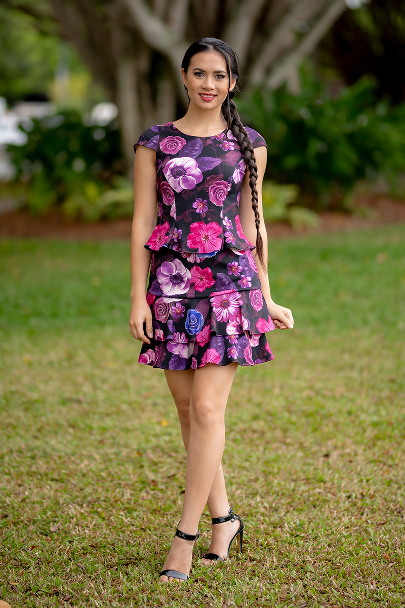 Flirty Top with Cap Sleeves and Salsa Skirt in Flower Power