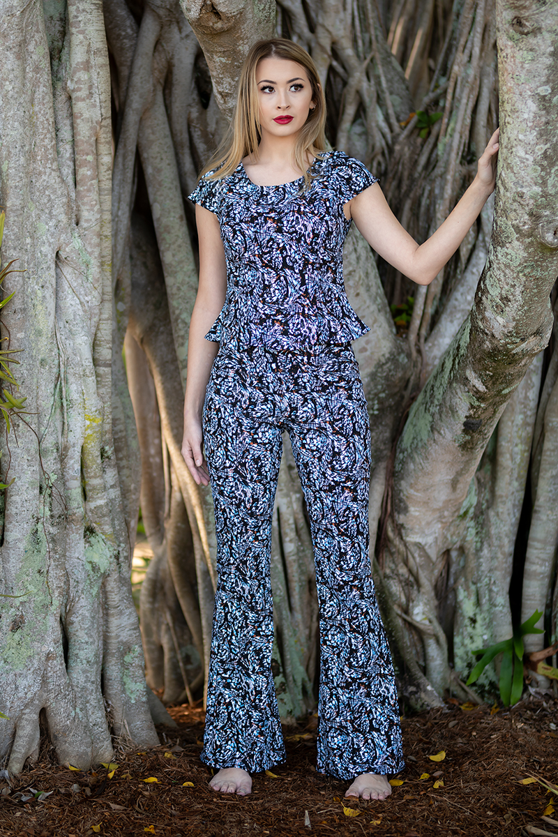 Flirty Top with Cap Sleeves and Boho Flares in Monarch