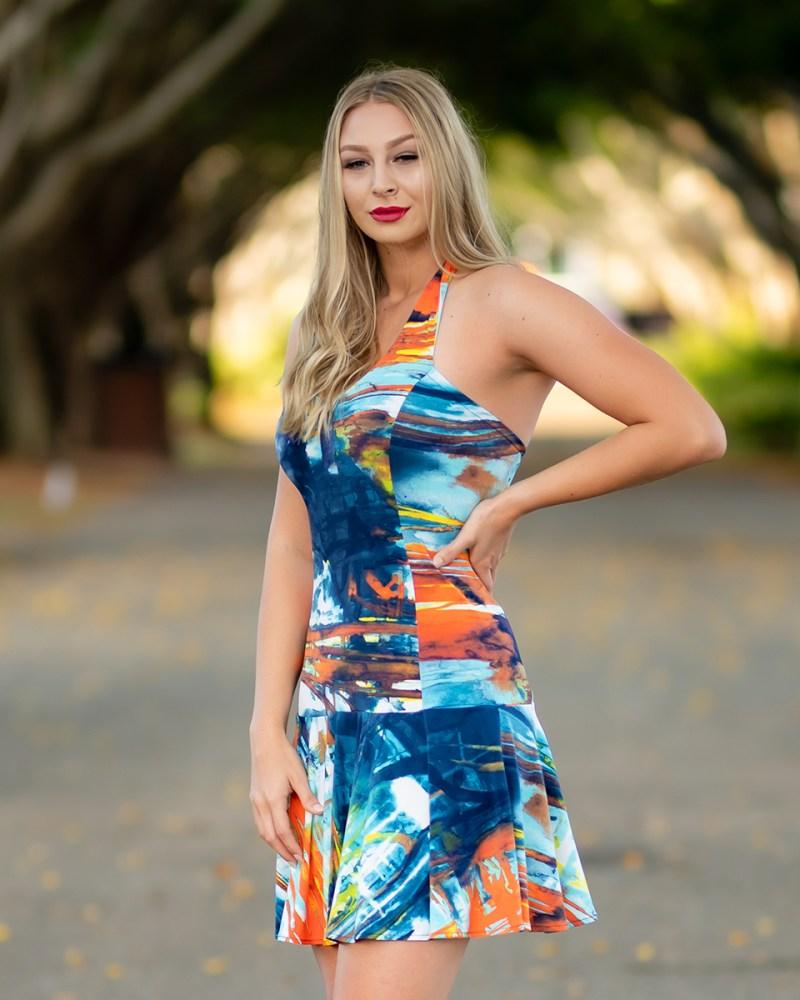 Juno Dulce Halter Dress in Sunrise
