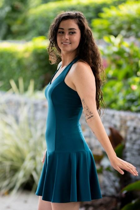 Juno Dulce Halter Dress in Teal