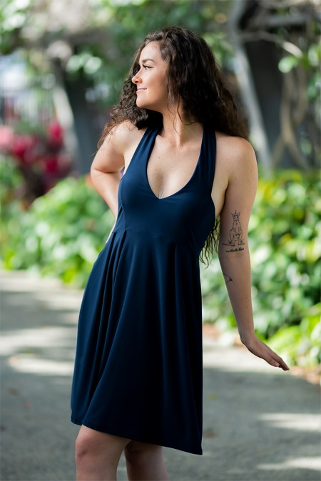 Juno Babydoll Dress in Navy