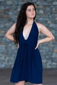 Moon Goddess Mini Dress in Navy