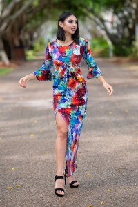Long Illusion Dress and Bella Donna Cardigan in Paia