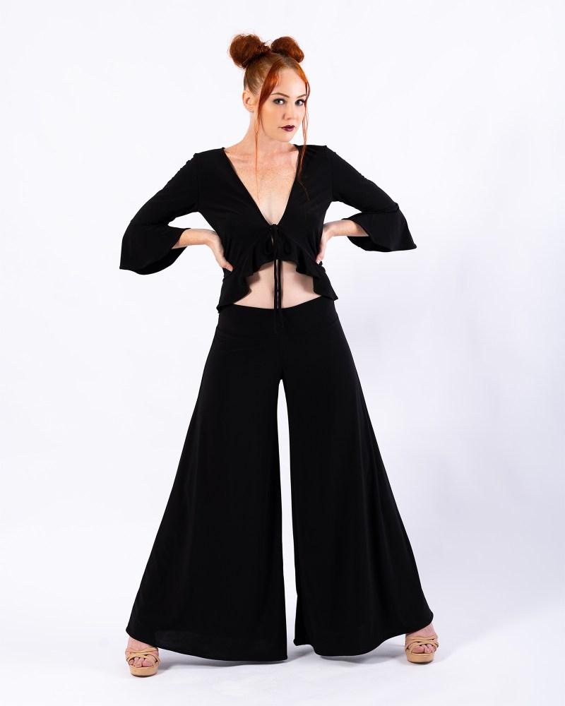 Bella Donna Cardigan and Palazzo Grande Pants in Black