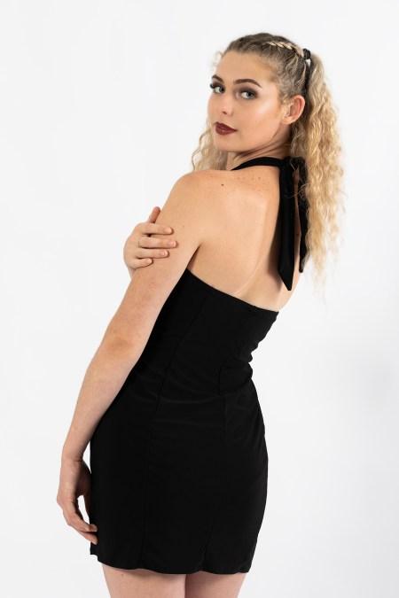 Juno Fitted Mini Dress in Blck