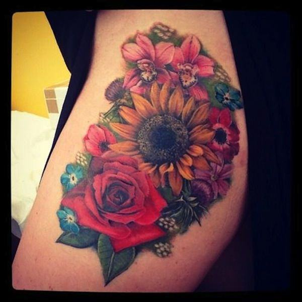 Rose And Sunflower Tattoo Sleeve