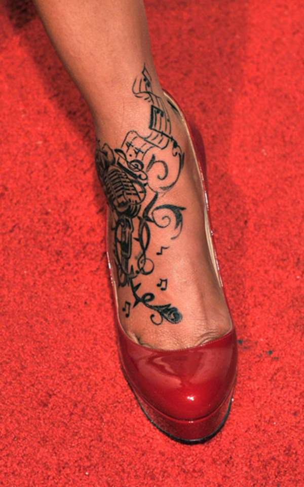 20 Foot Tattoos On Music Player Ideas And Designs