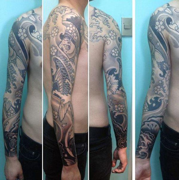 Japanese Koi Fish Sleeve Tattoo Designs
