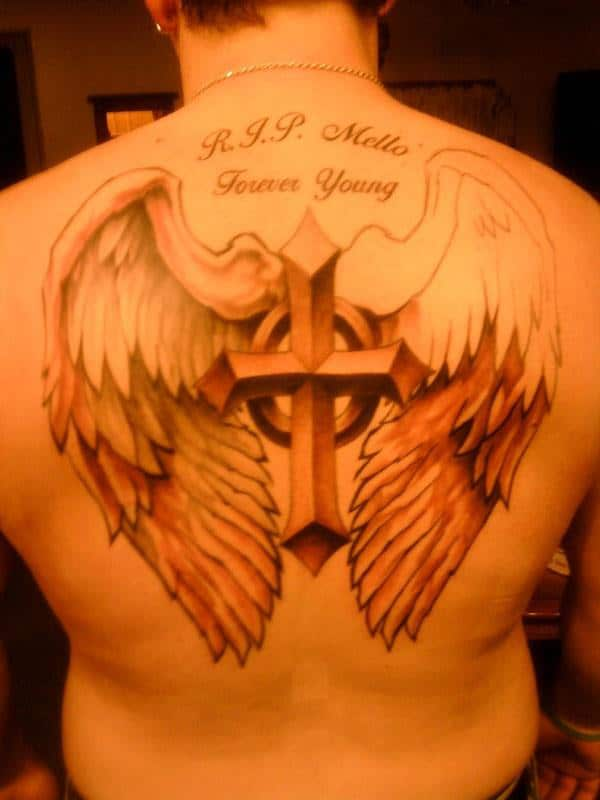 Small Cross With Angel Wings Tattoo