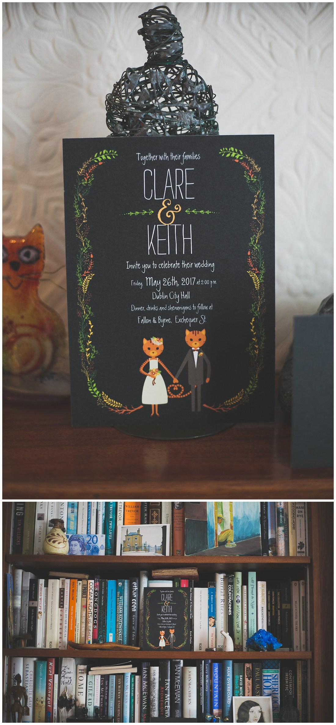 Beautiful matte black wedding innovations with a bride and groom cat and leaf details