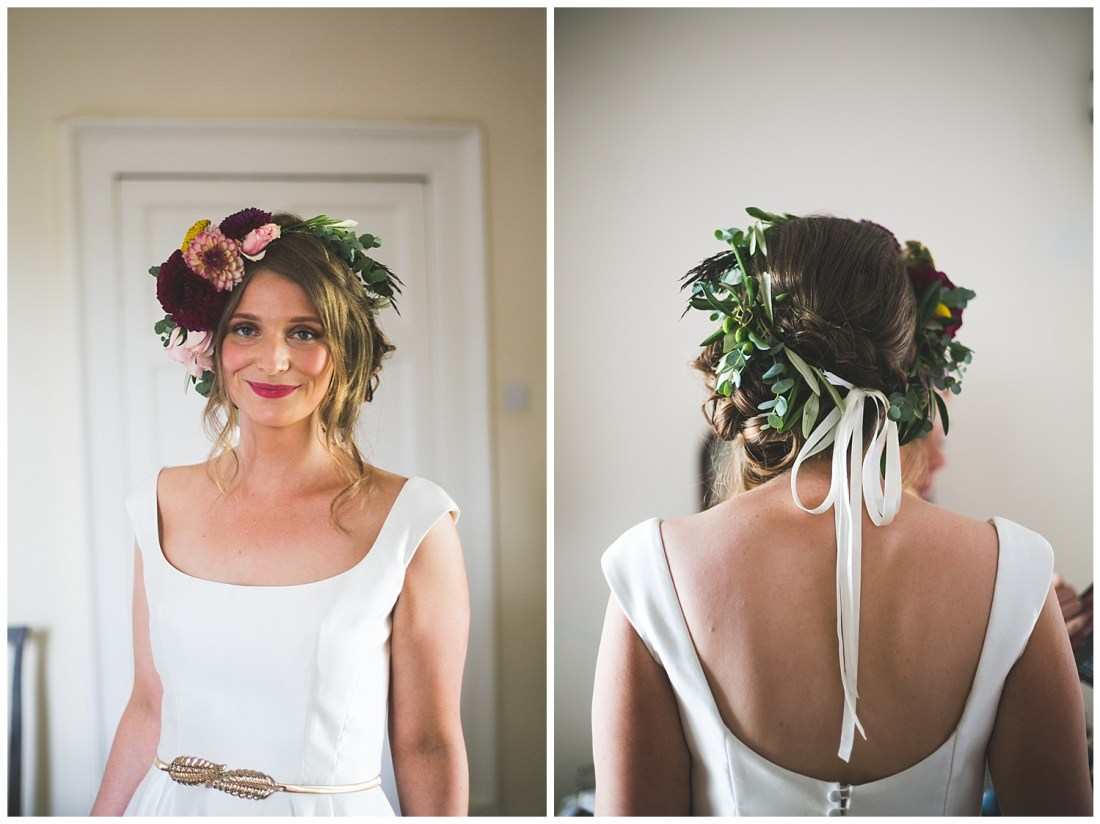 Rustic real flower floral crown with wild foliage and white ribbon