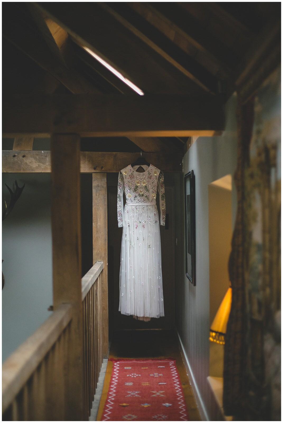 Needle and thread floor length sequins wedding dress