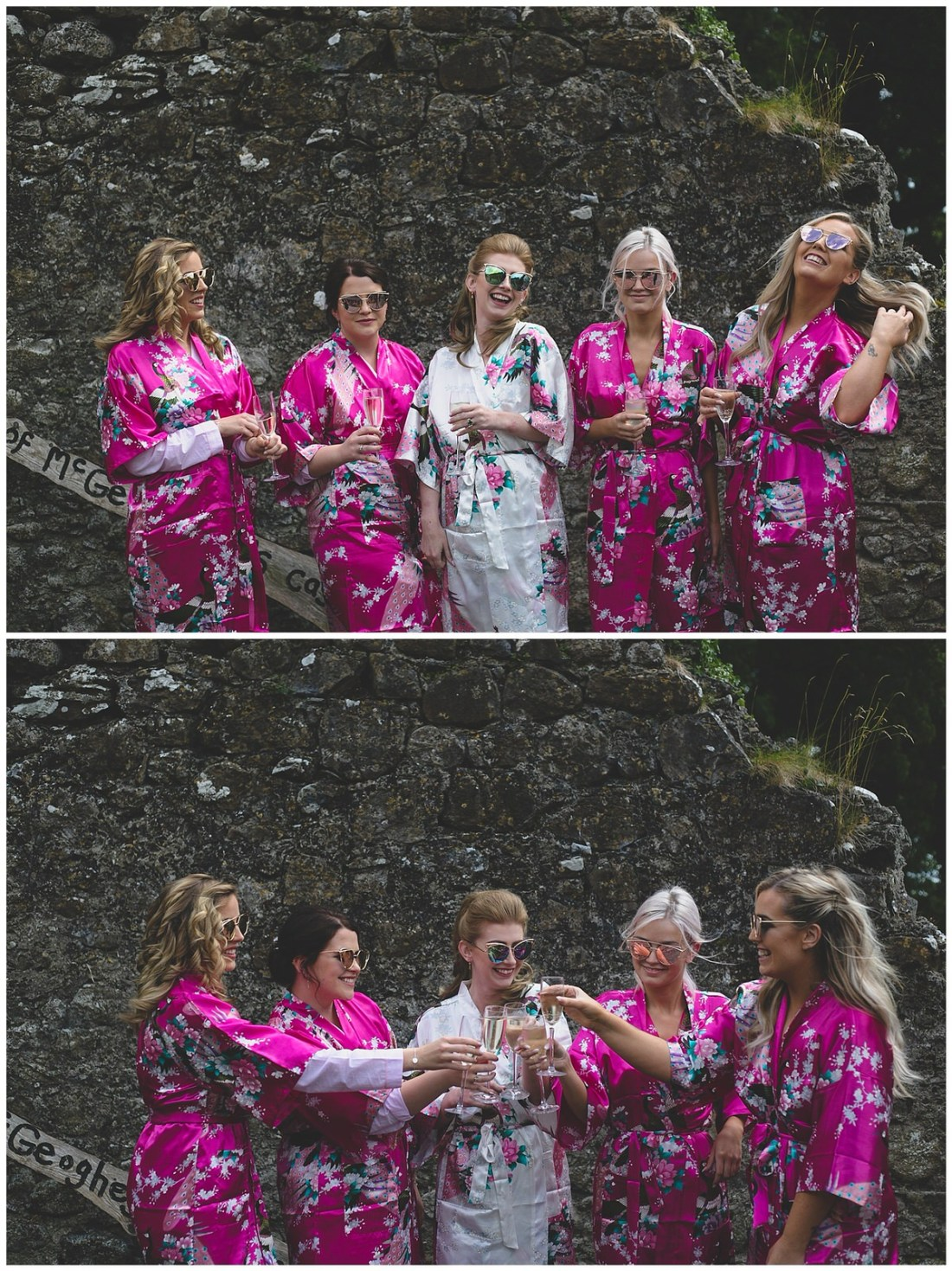 Bridesmaid and bridal party portrait in stylish sunglasses and dressing gowns